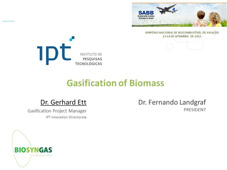 IPT - Instituto de Pesquisas Tecnológicas do Estado de São Paulo – Diretoria de inovação / DI Tel: +55 11 3767-4466 Gasification of Biomass Dr. Gerhar