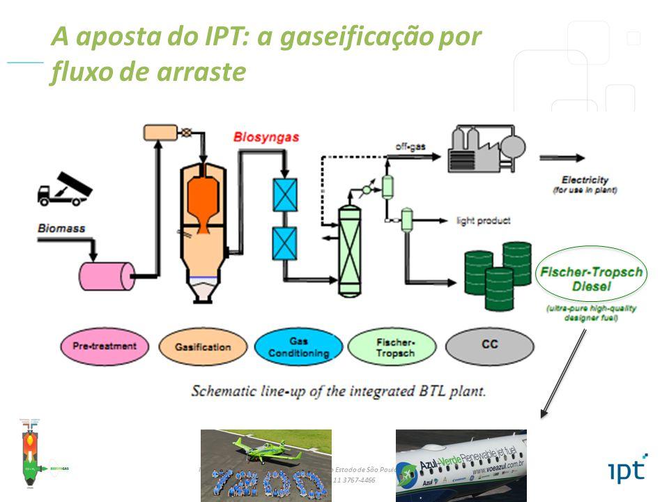 IPT - Instituto de Pesquisas Tecnológicas do Estado de São Paulo – Diretoria de inovação / DI Tel: +55 11 3767-4466 A aposta do IPT: a gaseificação por fluxo de arraste