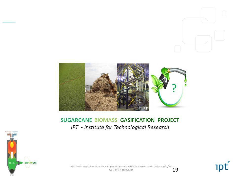IPT - Instituto de Pesquisas Tecnológicas do Estado de São Paulo – Diretoria de inovação / DI Tel: +55 11 3767-4466 19 SUGARCANE BIOMASS GASIFICATION