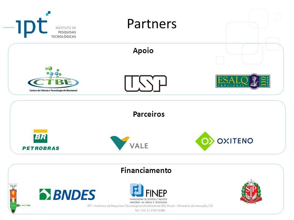 IPT - Instituto de Pesquisas Tecnológicas do Estado de São Paulo – Diretoria de inovação / DI Tel: +55 11 3767-4466 Partners Parceiros Financiamento Apoio