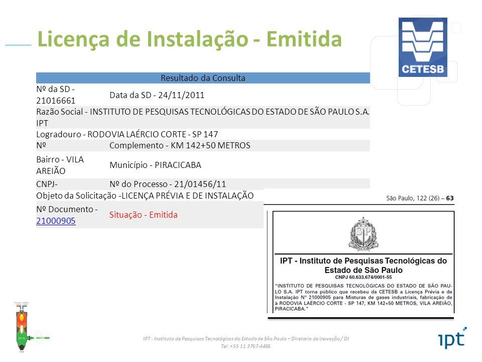 IPT - Instituto de Pesquisas Tecnológicas do Estado de São Paulo – Diretoria de inovação / DI Tel: +55 11 3767-4466 Licença de Instalação - Emitida Re