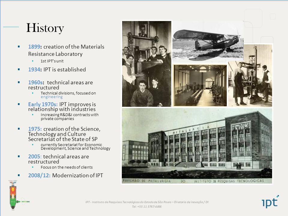 IPT - Instituto de Pesquisas Tecnológicas do Estado de São Paulo – Diretoria de inovação / DI Tel: +55 11 3767-4466 History 1899: creation of the Mate