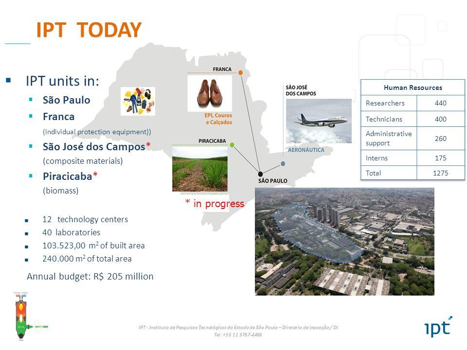 IPT - Instituto de Pesquisas Tecnológicas do Estado de São Paulo – Diretoria de inovação / DI Tel: +55 11 3767-4466 12 technology centers 40 laborator