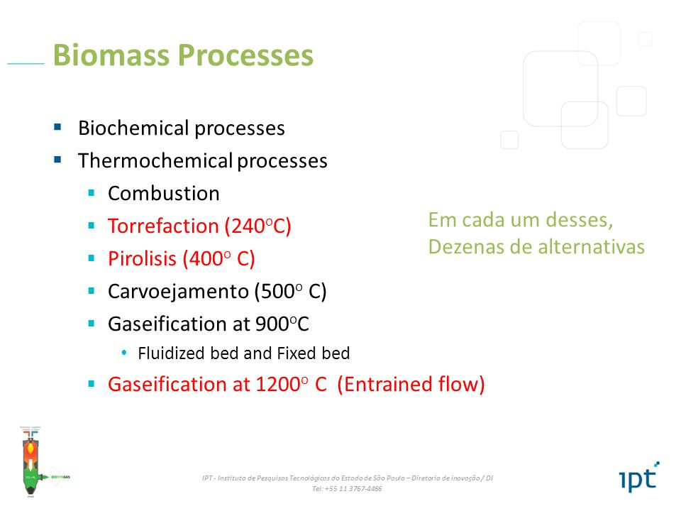 IPT - Instituto de Pesquisas Tecnológicas do Estado de São Paulo – Diretoria de inovação / DI Tel: +55 11 3767-4466 Biomass Gasification É queimar o bagaço e a palha com pouco oxigênio, de forma autotérmica, de maneira a obter um gás, contendo principalmente CO + H 2.