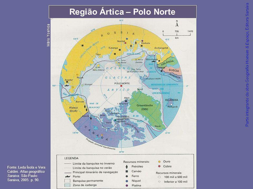 Parte integrante da obra Geografia Homem & Espaço, Editora Saraiva Região Ártica – Polo Norte Mário Yoshida Fonte: Leda Ísola e Vera Caldini. Atlas ge