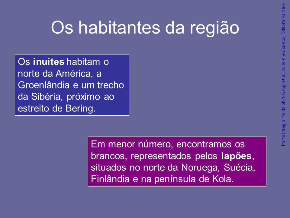 Parte integrante da obra Geografia Homem & Espaço, Editora Saraiva Os habitantes da região Em menor número, encontramos os brancos, representados pelo