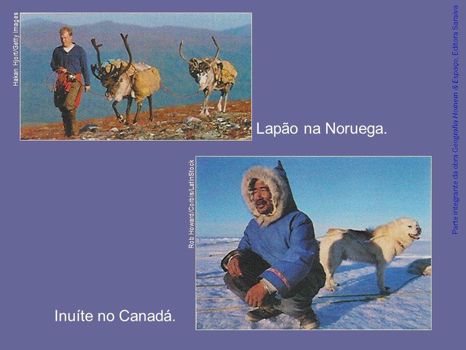 Parte integrante da obra Geografia Homem & Espaço, Editora Saraiva No verão, os inuítes praticam a pesca em água doce e a caça.