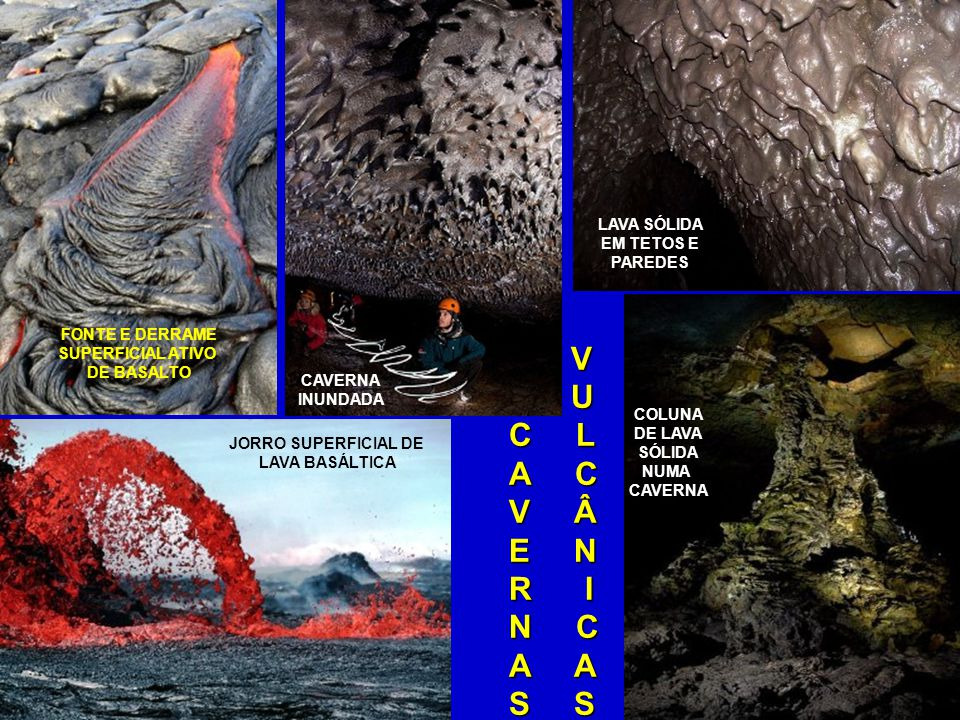CAVERNAS VULCÂNICAS Ou TUBOS DE LAVA, formam-se basicamente de duas maneiras: após expelir lava, os dutos de vulcões podem se tornar ocos; já os derrames de lava basáltica se espalham por áreas extensas, solidificam-se na parte superior e continuam fluindo internamente, podendo também deixar para trás dutos ocos; em ambos os casos, se houver novos derrames, tudo se transforma.