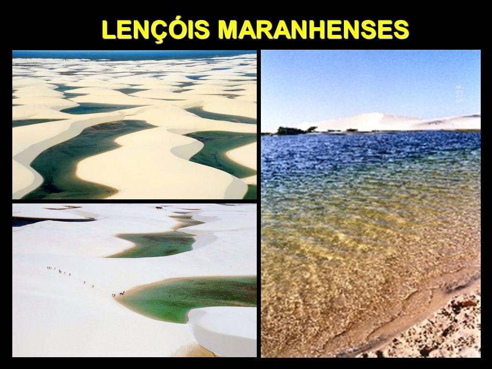 LENÇÓIS MARANHENSES Sito no litoral nordeste do Maranhão, ocupa uma área de 270 km², a maior parte PARQUE NACIONAL.