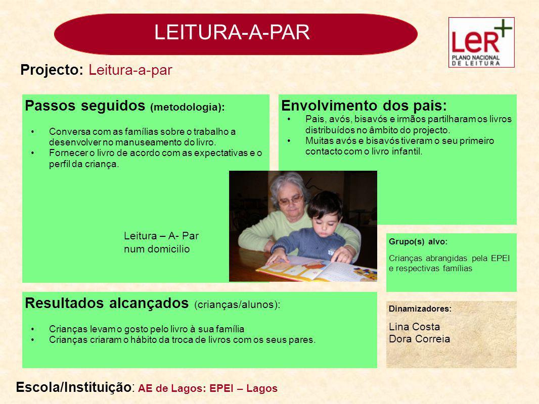 LEITURA-A-PAR Passos seguidos (metodologia): Angariação junto das famílias de livros para a biblioteca da sala.