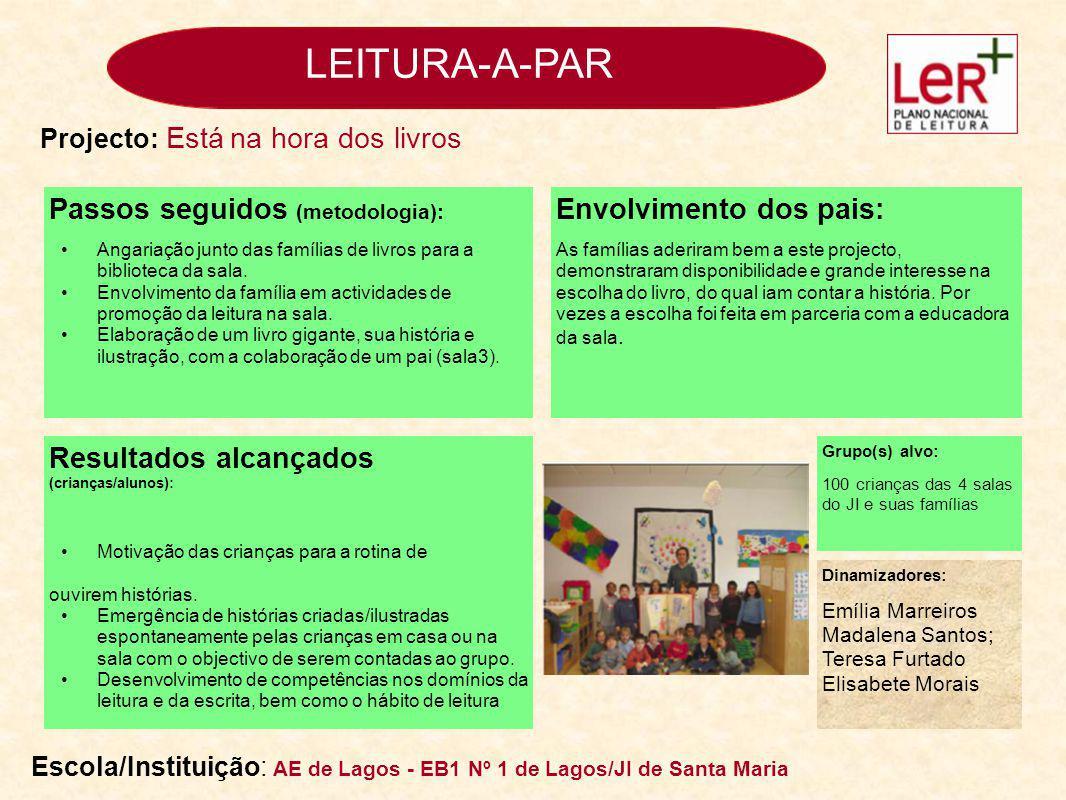 LEITURA-A-PAR Passos seguidos (metodologia): Na reunião de Pais/Encarregados de Educação do início do 2º período, foi apresentado um powerpoint, onde se fez referência à importância do livro e da leitura.