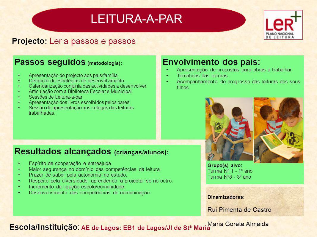 LEITURA-A-PAR Passos seguidos (metodologia): Apresentação do projecto aos pais/família.