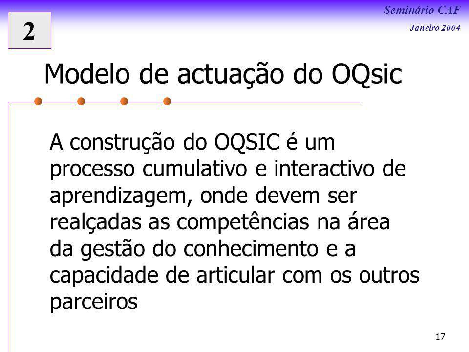 Seminário CAF Janeiro 2004 17 Modelo de actuação do OQsic A construção do OQSIC é um processo cumulativo e interactivo de aprendizagem, onde devem ser realçadas as competências na área da gestão do conhecimento e a capacidade de articular com os outros parceiros 2