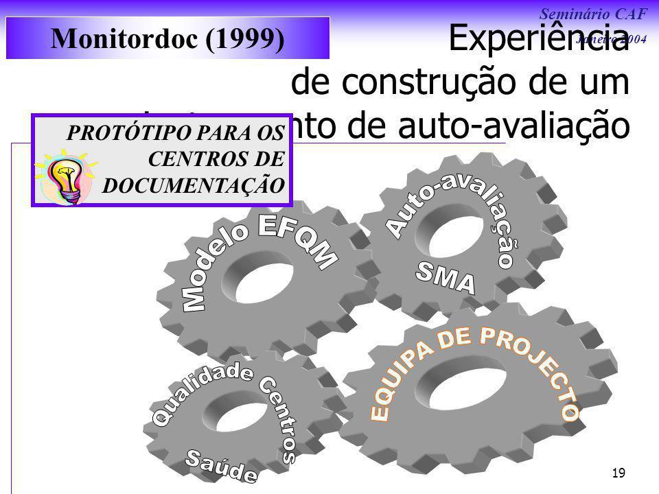 Seminário CAF Janeiro 2004 19 Experiência de construção de um instrumento de auto-avaliação PROTÓTIPO PARA OS CENTROS DE DOCUMENTAÇÃO Monitordoc (1999)