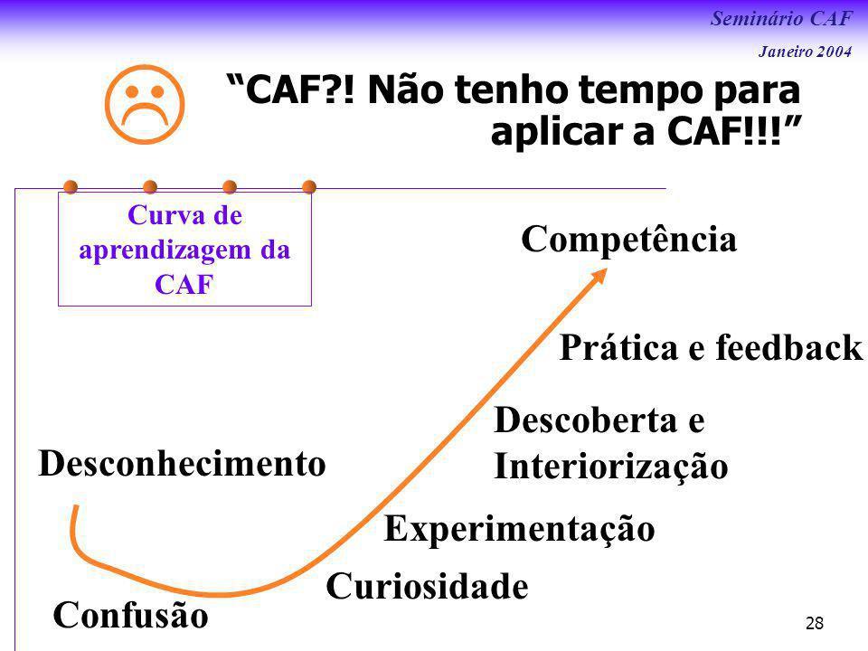 Seminário CAF Janeiro 2004 28 Desconhecimento Confusão Curiosidade Experimentação Descoberta e Interiorização Prática e feedback Competência CAF?.