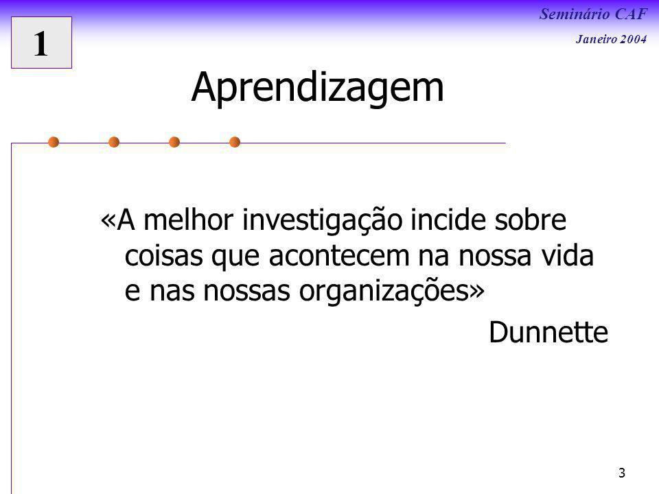 Seminário CAF Janeiro 2004 3 «A melhor investigação incide sobre coisas que acontecem na nossa vida e nas nossas organizações» Dunnette Aprendizagem 1