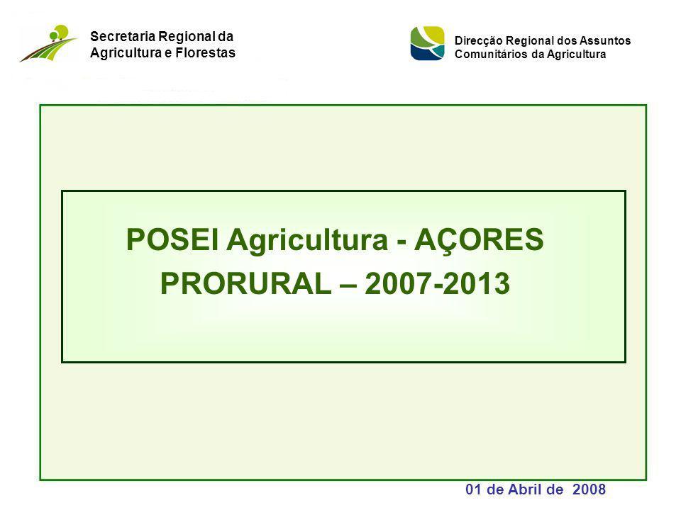 POSEI Agricultura - AÇORES PRORURAL – 2007-2013 01 de Abril de 2008 Secretaria Regional da Agricultura e Florestas Direcção Regional dos Assuntos Comunitários da Agricultura