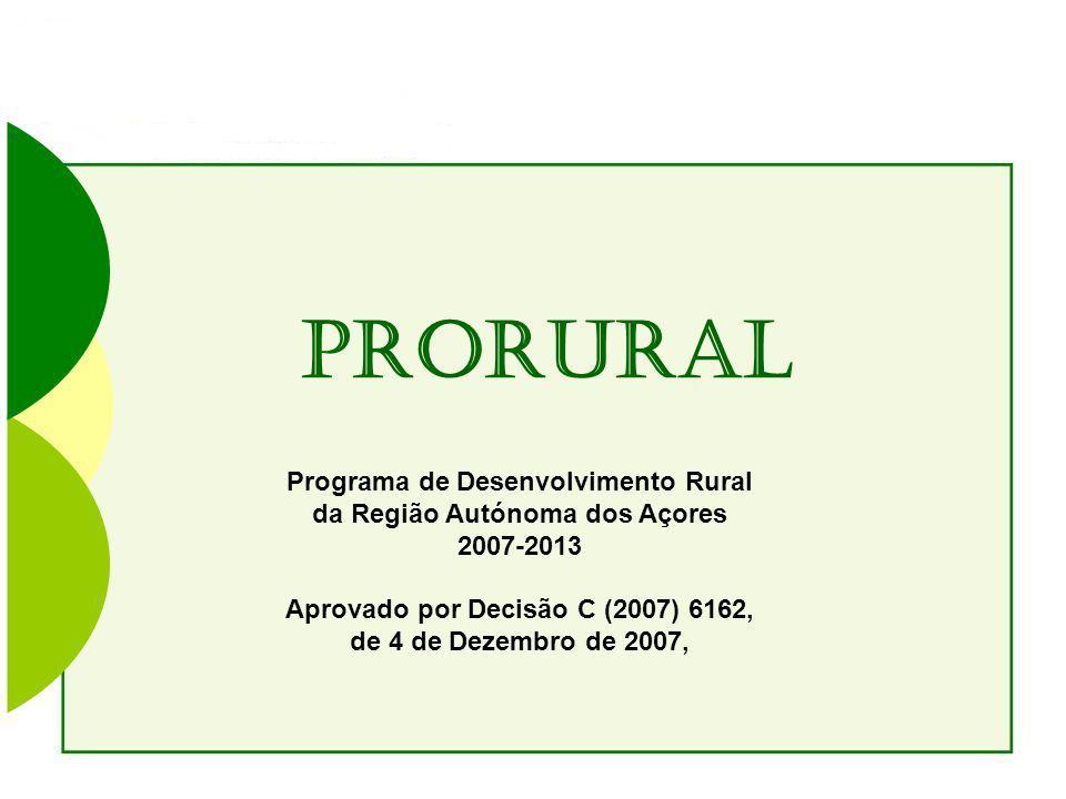 PRORURAl Programa de Desenvolvimento Rural da Região Autónoma dos Açores 2007-2013 Aprovado por Decisão C (2007) 6162, de 4 de Dezembro de 2007,