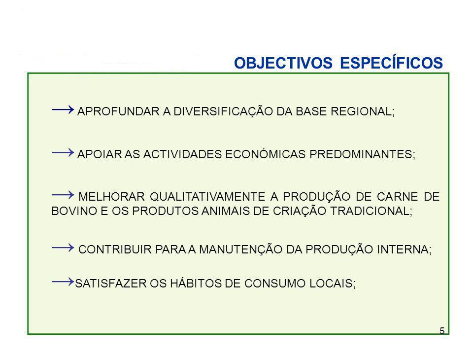5 OBJECTIVOS ESPECÍFICOS APROFUNDAR A DIVERSIFICAÇÃO DA BASE REGIONAL; APOIAR AS ACTIVIDADES ECONÓMICAS PREDOMINANTES; MELHORAR QUALITATIVAMENTE A PRODUÇÃO DE CARNE DE BOVINO E OS PRODUTOS ANIMAIS DE CRIAÇÃO TRADICIONAL; CONTRIBUIR PARA A MANUTENÇÃO DA PRODUÇÃO INTERNA; SATISFAZER OS HÁBITOS DE CONSUMO LOCAIS;