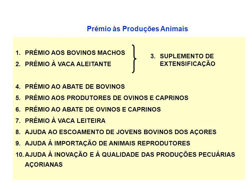 7 Prémio às Produções Animais PRÉMIOS ÀS PRODUÇÕES ANIMAIS 1.PRÉMIO AOS BOVINOS MACHOS 2.PRÉMIO À VACA ALEITANTE 4.PRÉMIO AO ABATE DE BOVINOS 5.PRÉMIO AOS PRODUTORES DE OVINOS E CAPRINOS 6.PRÉMIO AO ABATE DE OVINOS E CAPRINOS 7.PRÉMIO À VACA LEITEIRA 8.AJUDA AO ESCOAMENTO DE JOVENS BOVINOS DOS AÇORES 9.AJUDA À IMPORTAÇÃO DE ANIMAIS REPRODUTORES 10.AJUDA À INOVAÇÃO E À QUALIDADE DAS PRODUÇÕES PECUÁRIAS AÇORIANAS 3.SUPLEMENTO DE EXTENSIFICAÇÃO