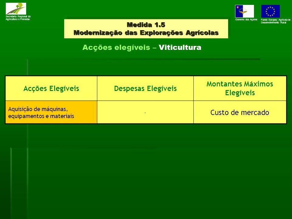 Medida 1.5 Modernização das Explorações Agrícolas Secretaria Regional da Agricultura e Florestas Governo dos Açores Fundo Europeu Agrícola de Desenvolvimento Rural Acções elegíveis – Viticultura Acções ElegíveisDespesas Elegíveis Montantes Máximos Elegíveis Aquisição de máquinas, equipamentos e materiais - Custo de mercado