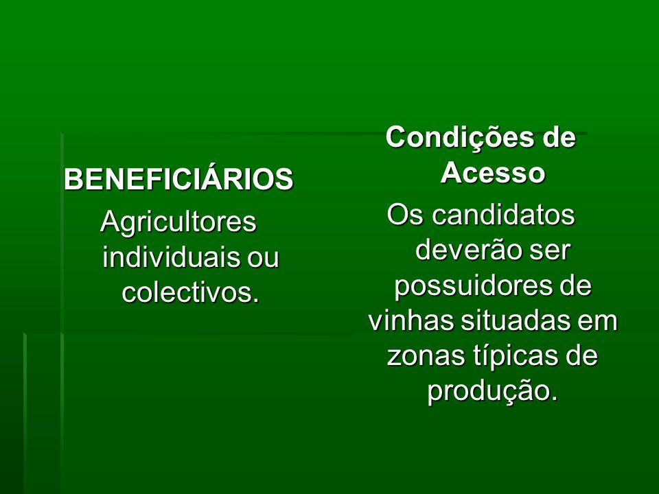 BENEFICIÁRIOS Agricultores individuais ou colectivos.