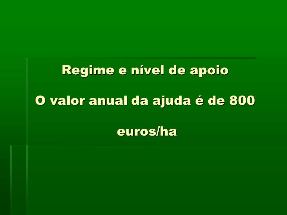 Regime e nível de apoio O valor anual da ajuda é de 800 euros/ha