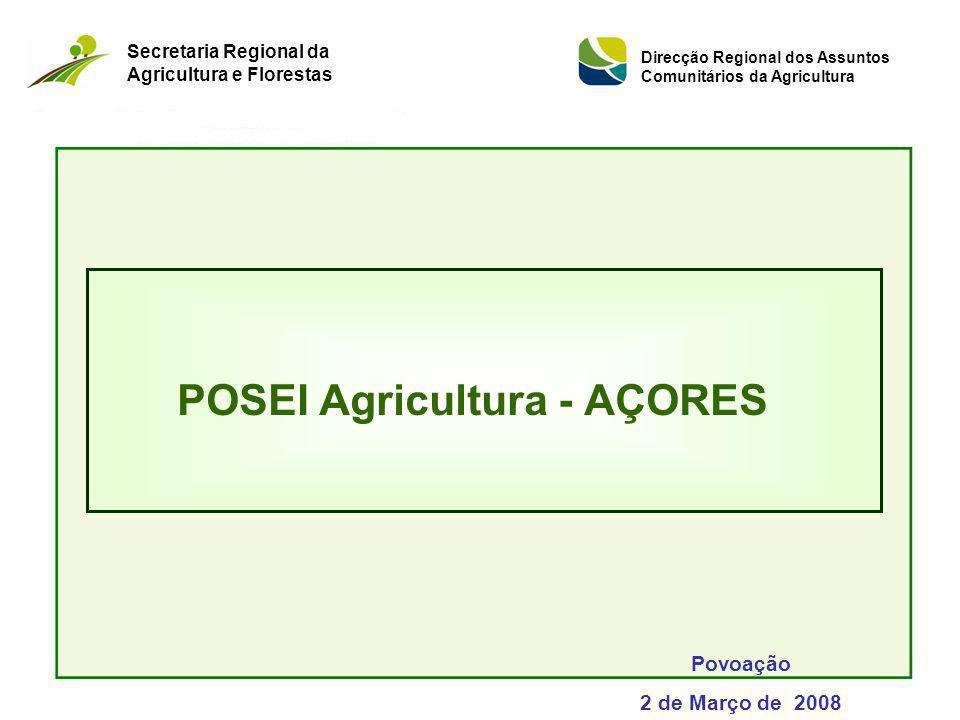POSEI Agricultura - AÇORES Povoação 2 de Março de 2008 Secretaria Regional da Agricultura e Florestas Direcção Regional dos Assuntos Comunitários da A