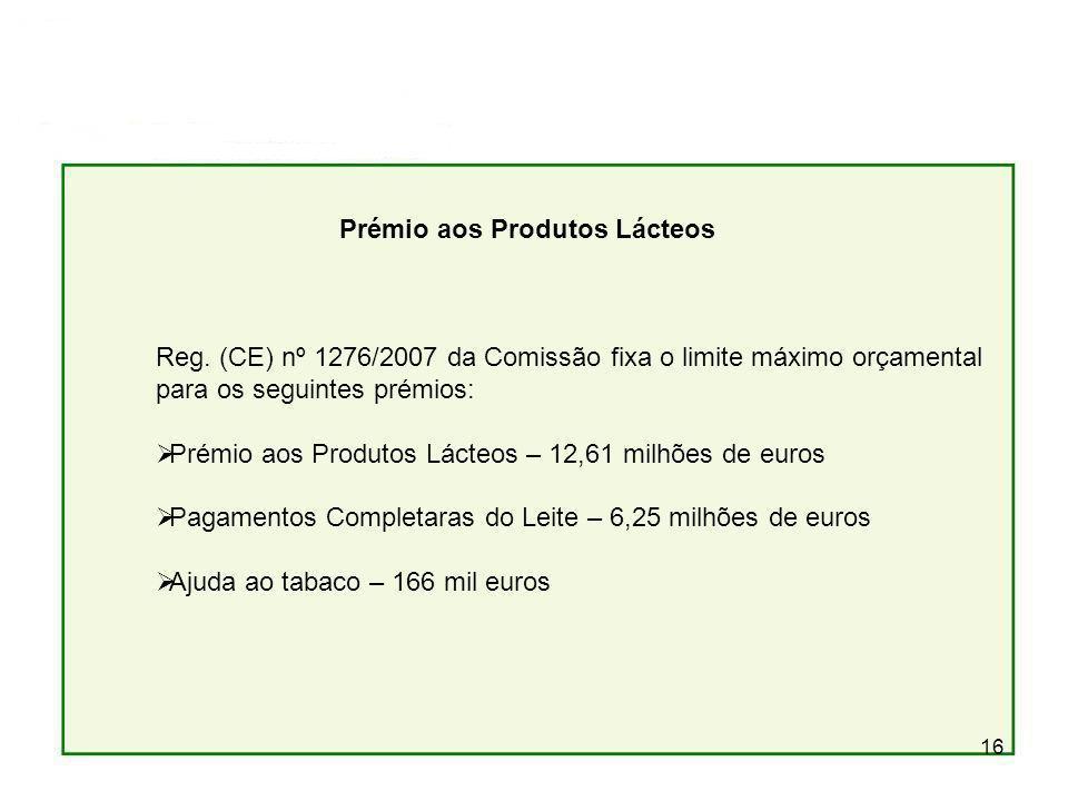 16 Prémio aos Produtos Lácteos Reg. (CE) nº 1276/2007 da Comissão fixa o limite máximo orçamental para os seguintes prémios: Prémio aos Produtos Lácte
