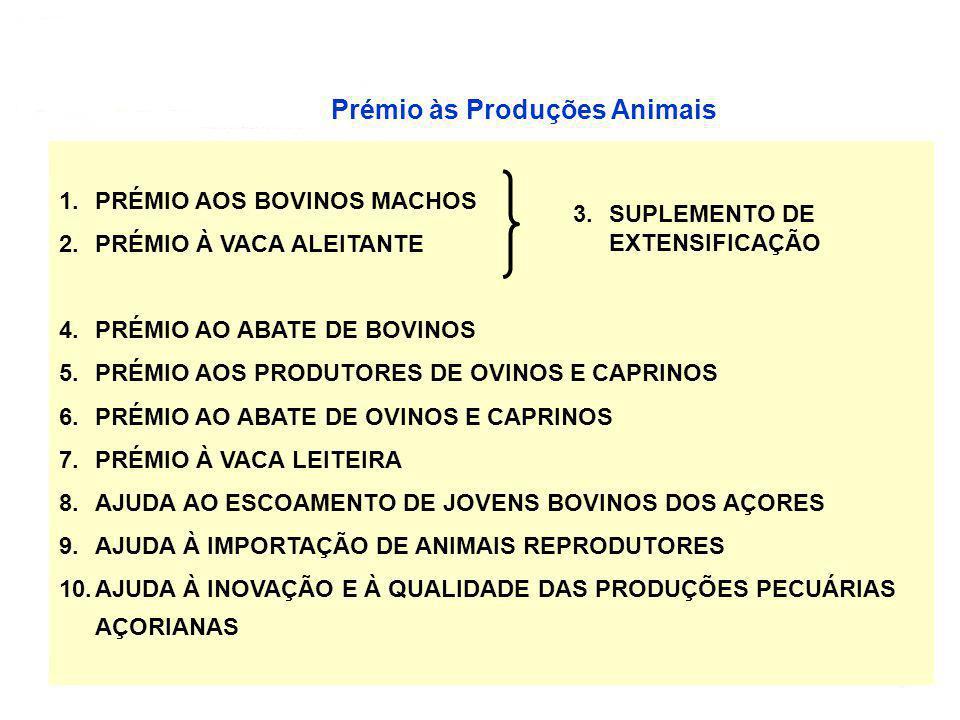 7 Prémio às Produções Animais PRÉMIOS ÀS PRODUÇÕES ANIMAIS 1.PRÉMIO AOS BOVINOS MACHOS 2.PRÉMIO À VACA ALEITANTE 4.PRÉMIO AO ABATE DE BOVINOS 5.PRÉMIO