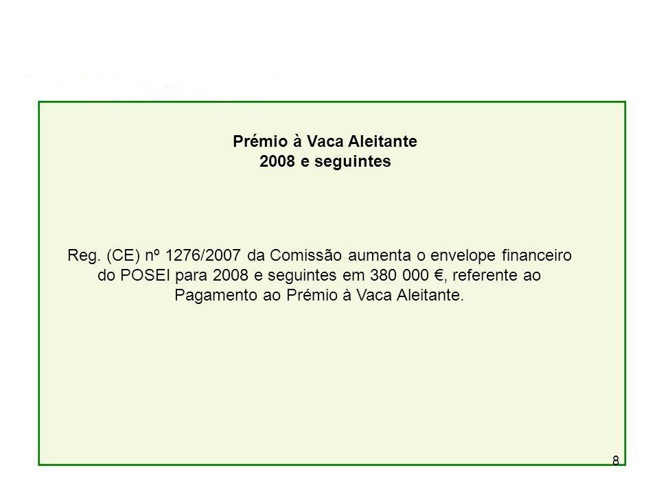 8 Prémio à Vaca Aleitante 2008 e seguintes Reg. (CE) nº 1276/2007 da Comissão aumenta o envelope financeiro do POSEI para 2008 e seguintes em 380 000,