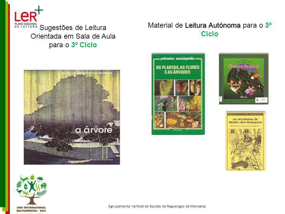 Sugestões de Leitura Orientada em Sala de Aula para o 3º Ciclo Agrupamento Vertical de Escolas de Reguengos de Monsaraz Leitura Autónoma Material de L