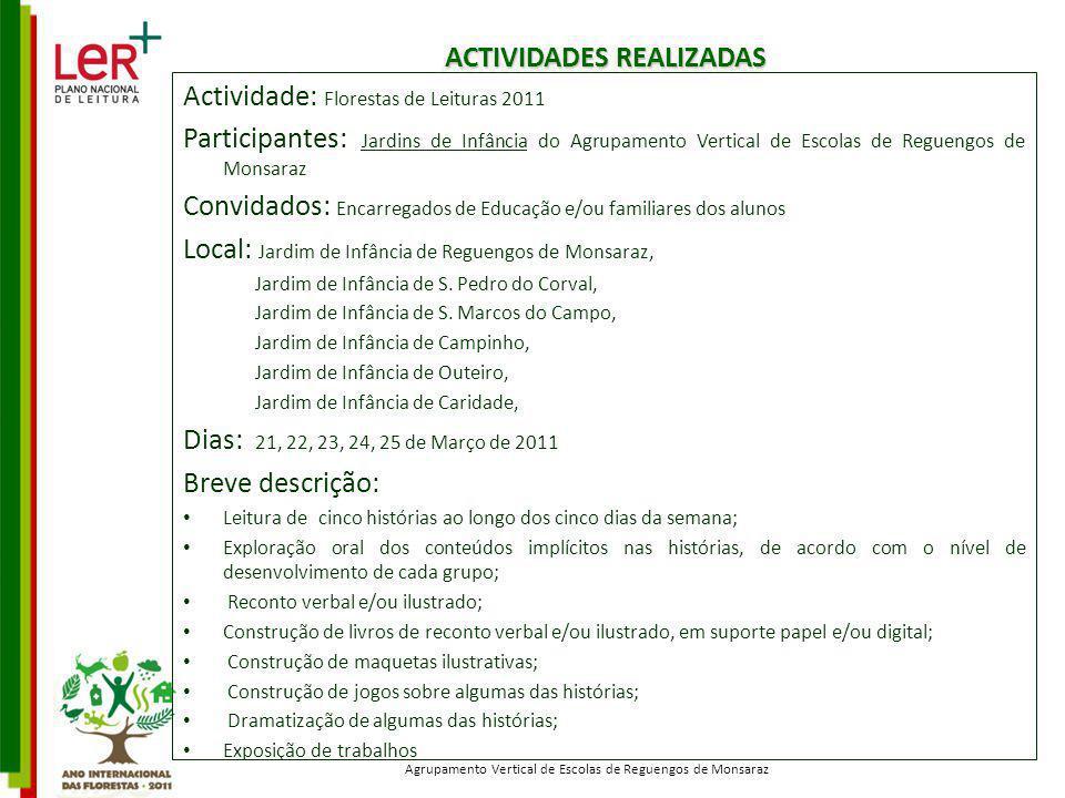 ACTIVIDADES REALIZADAS Actividade: Florestas de Leituras 2011 Participantes: Jardins de Infância do Agrupamento Vertical de Escolas de Reguengos de Mo