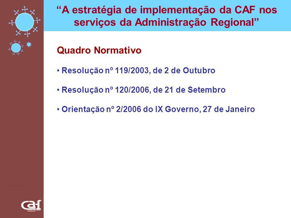 A estratégia de implementação da CAF nos serviços da Administração Regional Quadro Normativo Resolução nº 119/2003, de 2 de Outubro Resolução nº 120/2