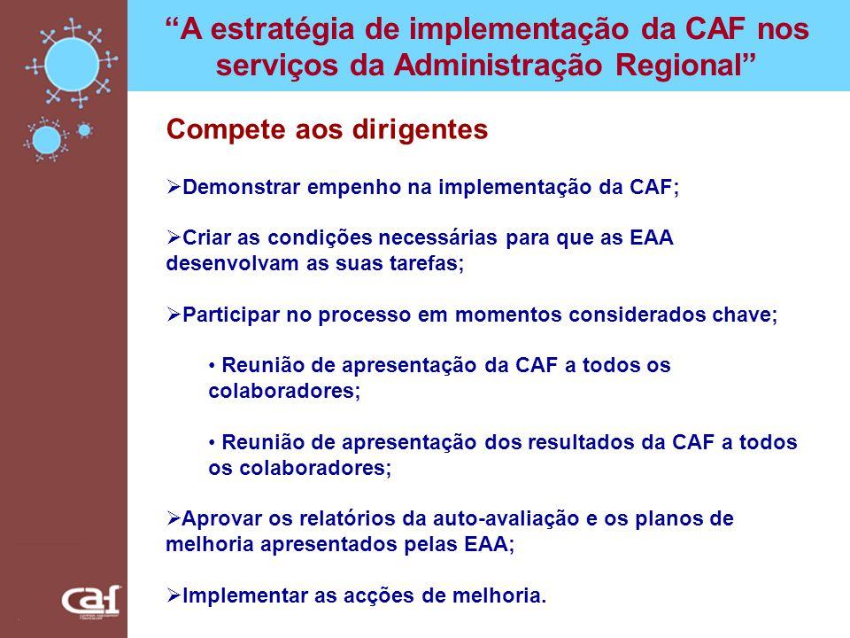 A estratégia de implementação da CAF nos serviços da Administração Regional Compete aos dirigentes Demonstrar empenho na implementação da CAF; Criar a
