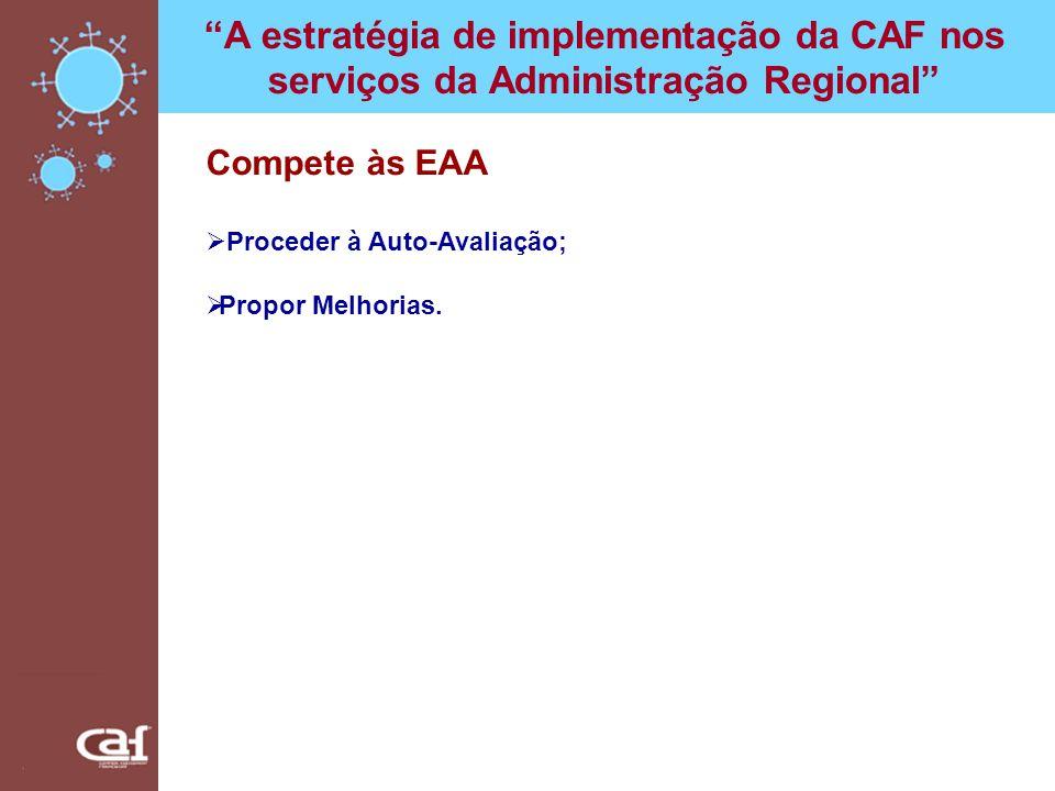 A estratégia de implementação da CAF nos serviços da Administração Regional Compete às EAA Proceder à Auto-Avaliação; Propor Melhorias.