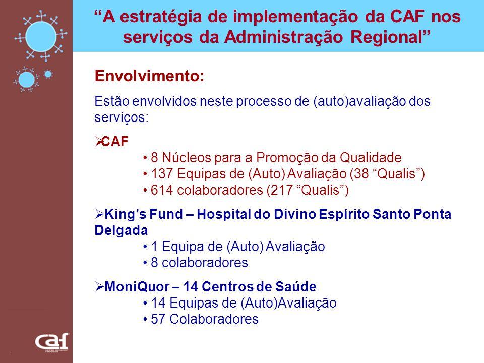A estratégia de implementação da CAF nos serviços da Administração Regional Envolvimento: Estão envolvidos neste processo de (auto)avaliação dos servi