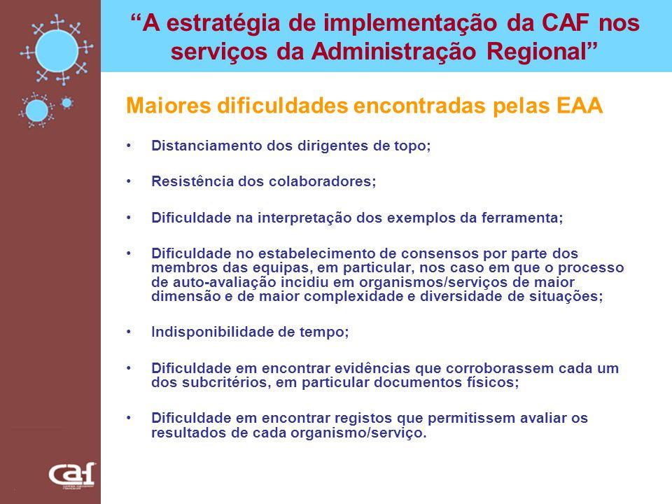 A estratégia de implementação da CAF nos serviços da Administração Regional Maiores dificuldades encontradas pelas EAA Distanciamento dos dirigentes d