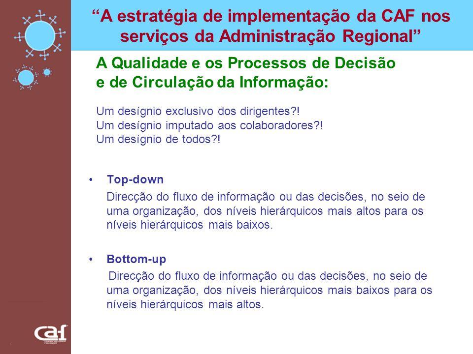 A estratégia de implementação da CAF nos serviços da Administração Regional Top-down Direcção do fluxo de informação ou das decisões, no seio de uma o