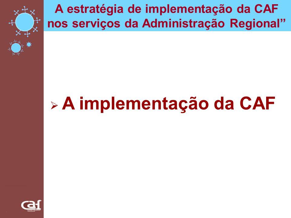 A estratégia de implementação da CAF nos serviços da Administração Regional Estratégia de implementação da CAF: Coordenação Geral Vice-Presidência do Governo Regional (VPGR) Direcção Regional de Organização e Administração Pública (DROAP) Coordenação Departamental Núcleos de Promoção da Qualidade (NPQ) (Auto) Avaliação Equipas de (Auto) Avaliação (EAA)