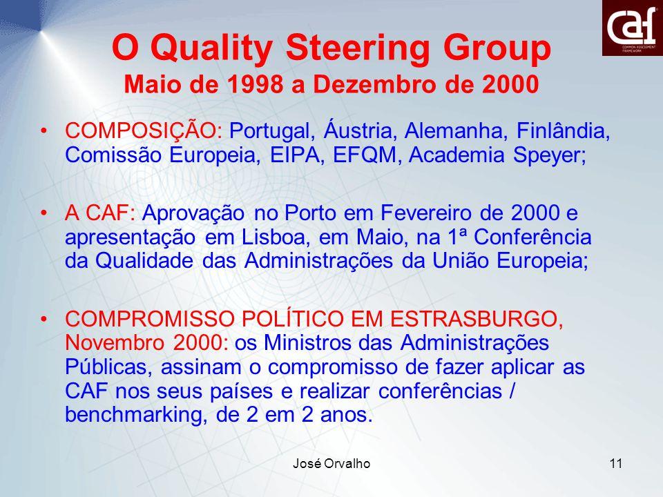 José Orvalho11 O Quality Steering Group Maio de 1998 a Dezembro de 2000 COMPOSIÇÃO: Portugal, Áustria, Alemanha, Finlândia, Comissão Europeia, EIPA, EFQM, Academia Speyer; A CAF: Aprovação no Porto em Fevereiro de 2000 e apresentação em Lisboa, em Maio, na 1ª Conferência da Qualidade das Administrações da União Europeia; COMPROMISSO POLÍTICO EM ESTRASBURGO, Novembro 2000: os Ministros das Administrações Públicas, assinam o compromisso de fazer aplicar as CAF nos seus países e realizar conferências / benchmarking, de 2 em 2 anos.