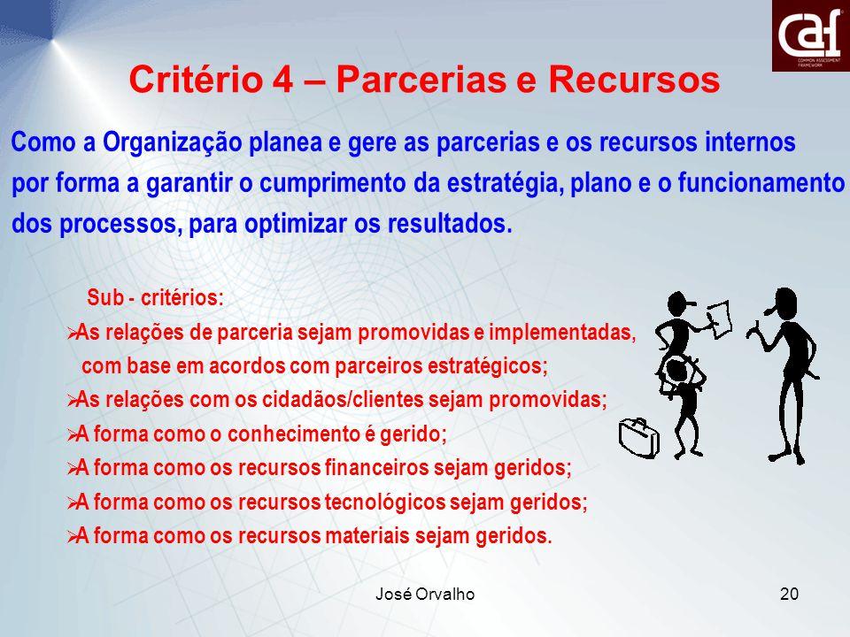 José Orvalho20 Critério 4 – Parcerias e Recursos Como a Organização planea e gere as parcerias e os recursos internos por forma a garantir o cumprimento da estratégia, plano e o funcionamento dos processos, para optimizar os resultados.