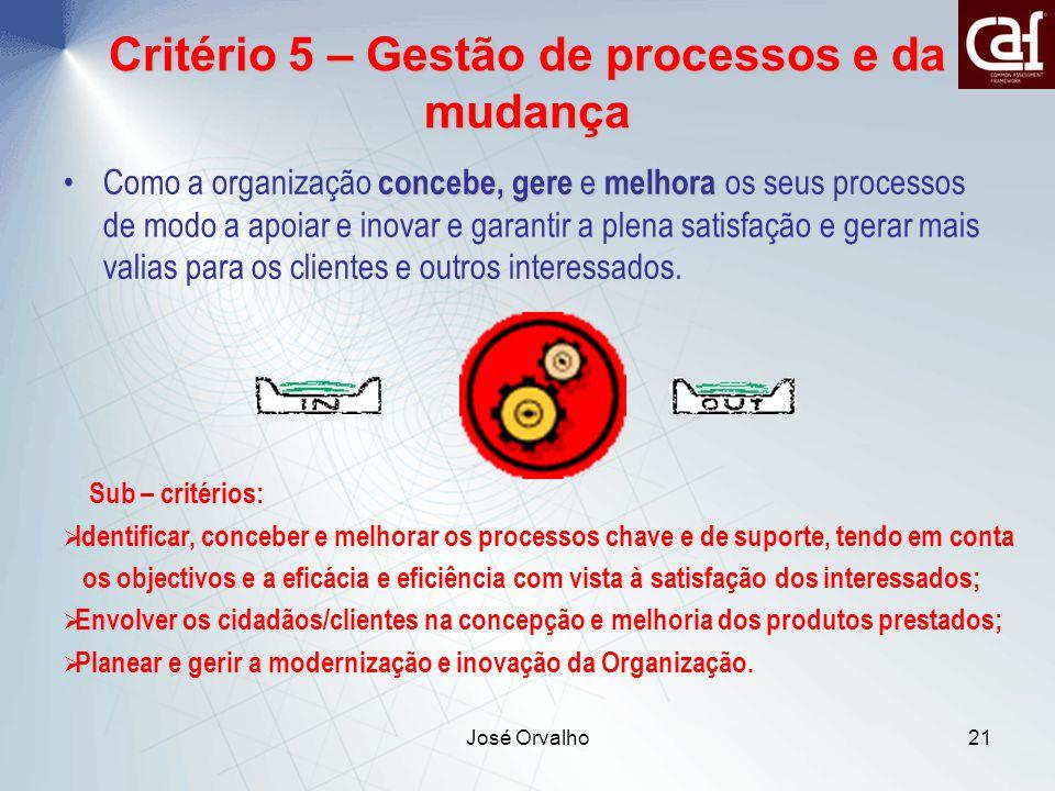 José Orvalho21 concebe, gere e melhoraComo a organização concebe, gere e melhora os seus processos de modo a apoiar e inovar e garantir a plena satisfação e gerar mais valias para os clientes e outros interessados.