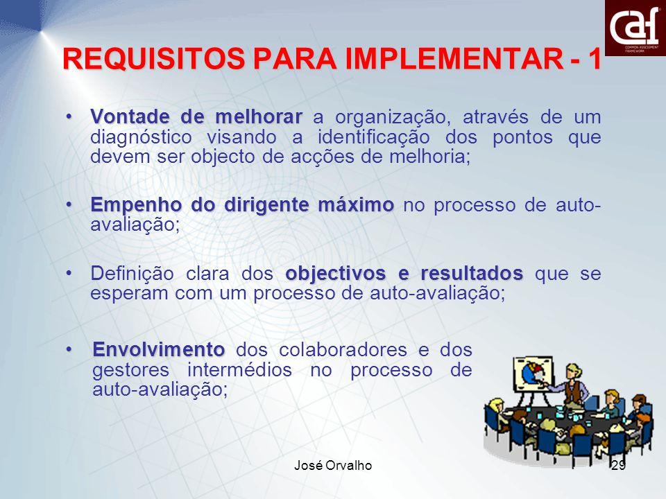 José Orvalho29 REQUISITOS PARA IMPLEMENTAR - 1 Vontade de melhorarVontade de melhorar a organização, através de um diagnóstico visando a identificação dos pontos que devem ser objecto de acções de melhoria; Empenho do dirigente máximoEmpenho do dirigente máximo no processo de auto- avaliação; objectivos e resultadosDefinição clara dos objectivos e resultados que se esperam com um processo de auto-avaliação; EnvolvimentoEnvolvimento dos colaboradores e dos gestores intermédios no processo de auto-avaliação;