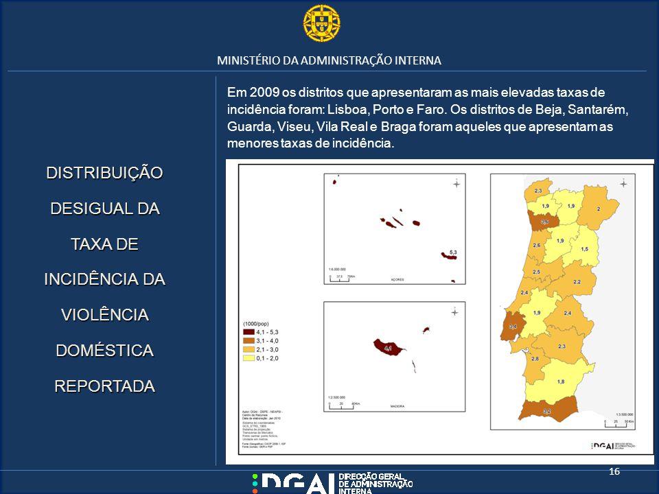 MINISTÉRIO DA ADMINISTRAÇÃO INTERNA Em 2009 os distritos que apresentaram as mais elevadas taxas de incidência foram: Lisboa, Porto e Faro. Os distrit