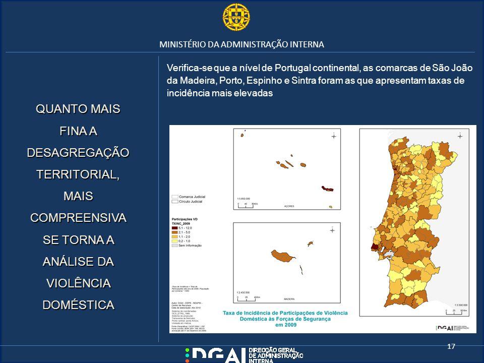 MINISTÉRIO DA ADMINISTRAÇÃO INTERNA Verifica-se que a nível de Portugal continental, as comarcas de São João da Madeira, Porto, Espinho e Sintra foram