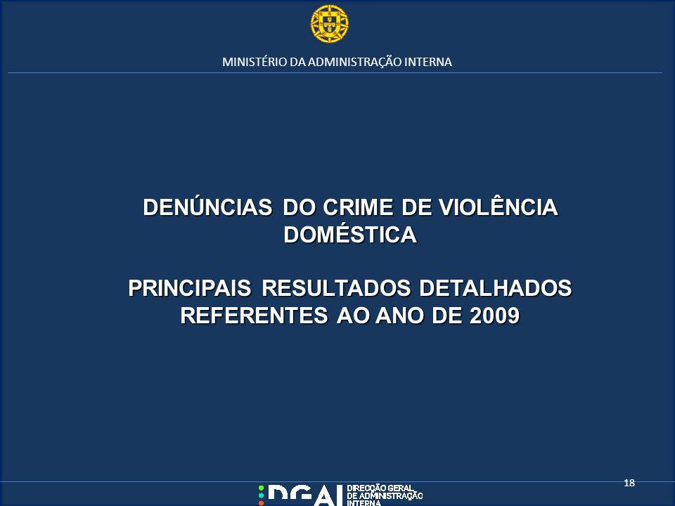 MINISTÉRIO DA ADMINISTRAÇÃO INTERNA DENÚNCIAS DO CRIME DE VIOLÊNCIA DOMÉSTICA PRINCIPAIS RESULTADOS DETALHADOS REFERENTES AO ANO DE 2009 18
