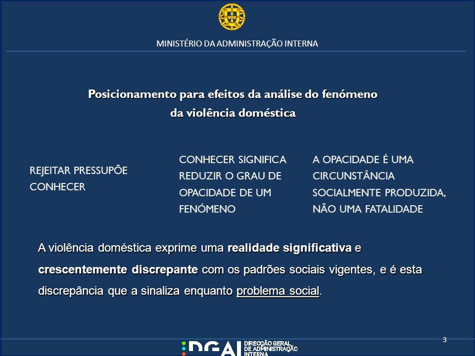 MINISTÉRIO DA ADMINISTRAÇÃO INTERNA A violência doméstica exprime uma realidade significativa e crescentemente discrepante com os padrões sociais vige
