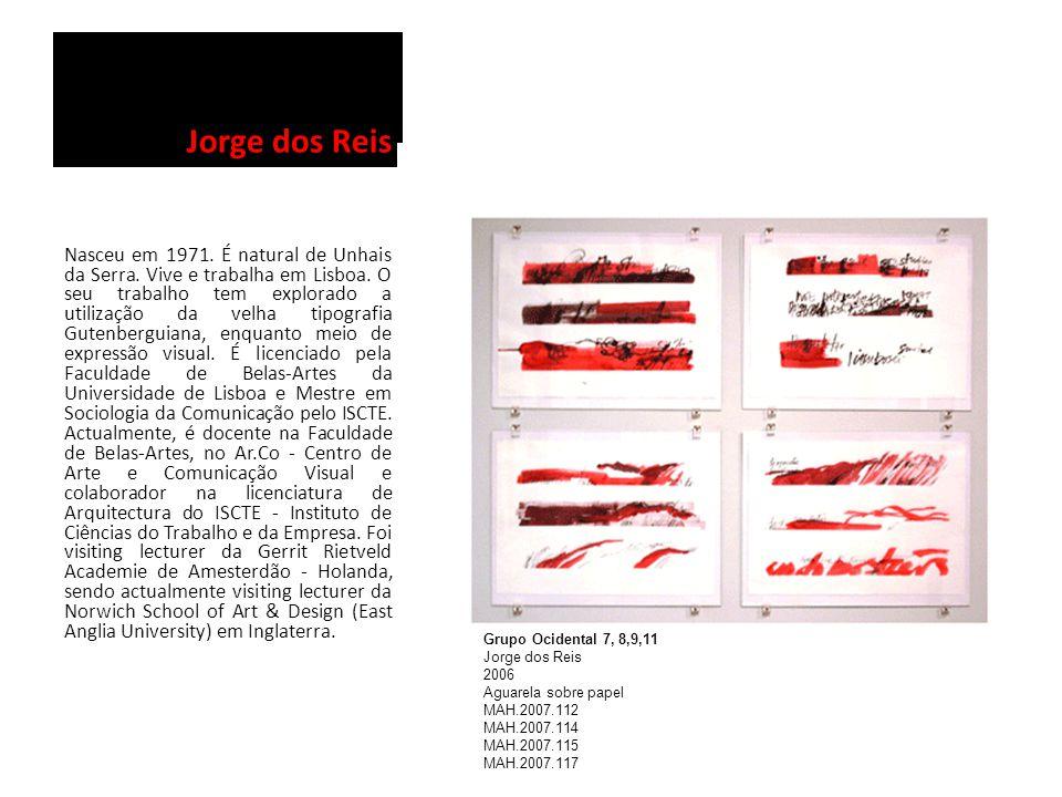 Jorge dos Reis Nasceu em 1971. É natural de Unhais da Serra. Vive e trabalha em Lisboa. O seu trabalho tem explorado a utilização da velha tipografia