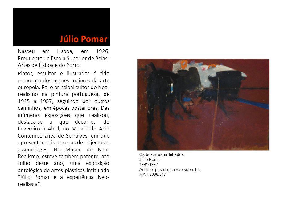 Júlio Pomar Nasceu em Lisboa, em 1926. Frequentou a Escola Superior de Belas- Artes de Lisboa e do Porto. Pintor, escultor e ilustrador é tido como um